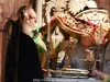 Ὁ Μακαριώτατος ἐντός τοῦ Παναγίου Τάφου τελῶν τήν θείαν Λειτουργίαν.