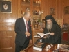 H.B studying the newly published book of the Architect Mr. Mitropoulos.