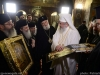 Fr Antiochos carries the Holy Wood in the presence of the Patriarchs