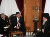 Mr Kikilias converses with the Patriarch