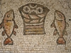 The mosaic showing the multiplied loaves and fish