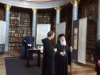 His Beatitude on a guided tour along the Library