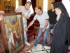 The Patriarch with the icon's painter and donator