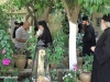 H.B. walks to the Dependency of Gethsemane area