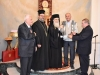His Beatitude returns St. James' key to Fr. Charalambos and the vestry men